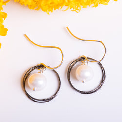 Double Sparkle Circles With Pearl Earrings