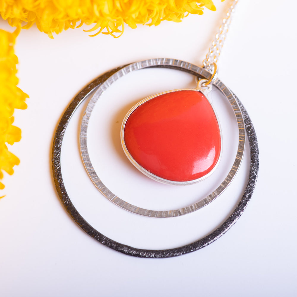 Double Open Circle With Red Coral