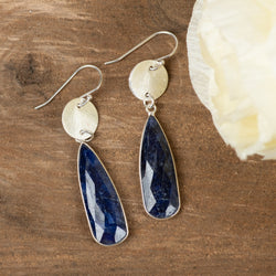 Textured Disc & Sapphire Earrings