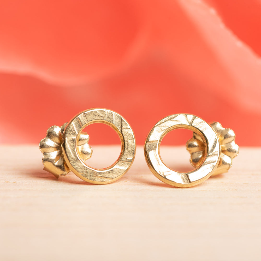 Circle 14K Gold Post Earrings