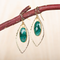 Emerald Open Leaf Earrings