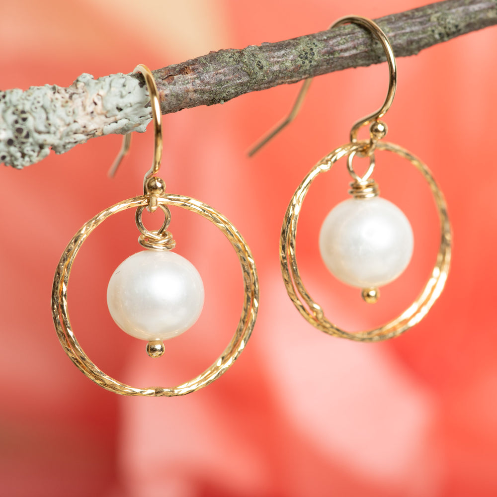 Double Sparkle Circle Earring With Pearl