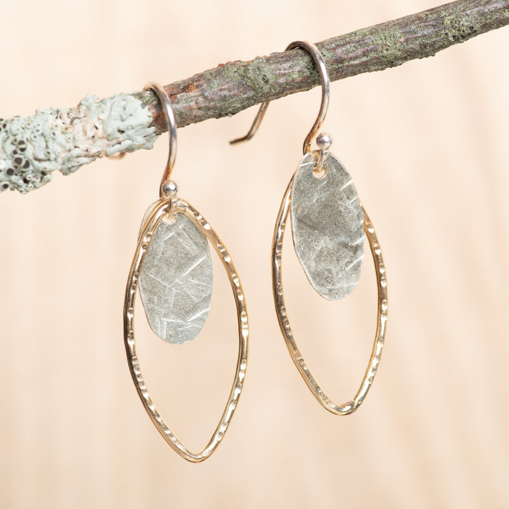 Small Leaf and Oval Dangle Earrings