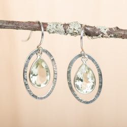 Green Amethyst in Open Oval Earrings