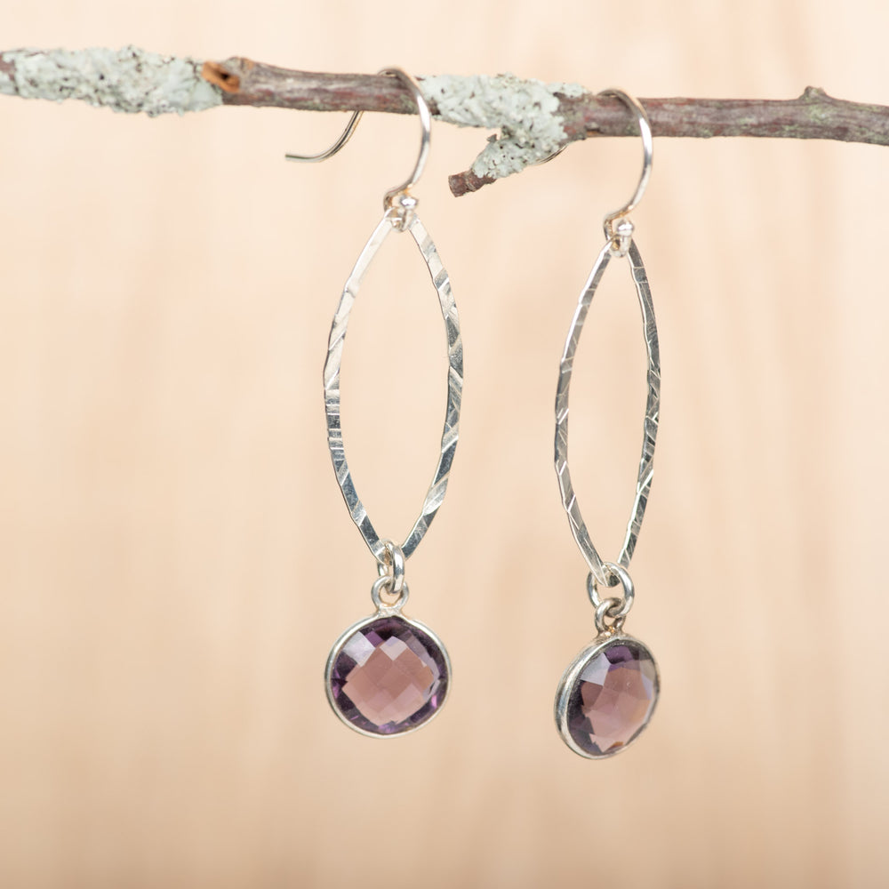 Small Open Leaf With Amethyst Earrings