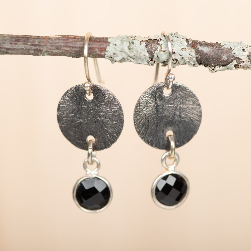 Small Textured Disc With Onyx Earrings