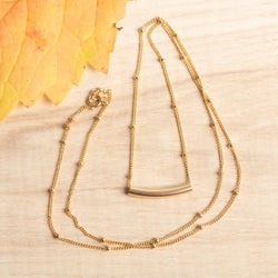 Small Gold Fill Simple Curve Necklace 20''