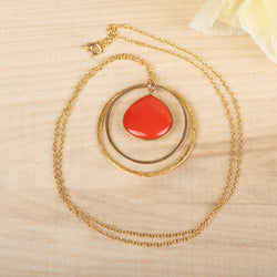 Double Open Circle Coral Necklace