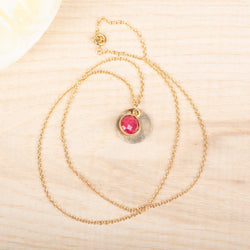 Textured Disc with Ruby Necklace