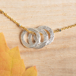 Mixed Metal Mini Triple Circle Pendant 20''