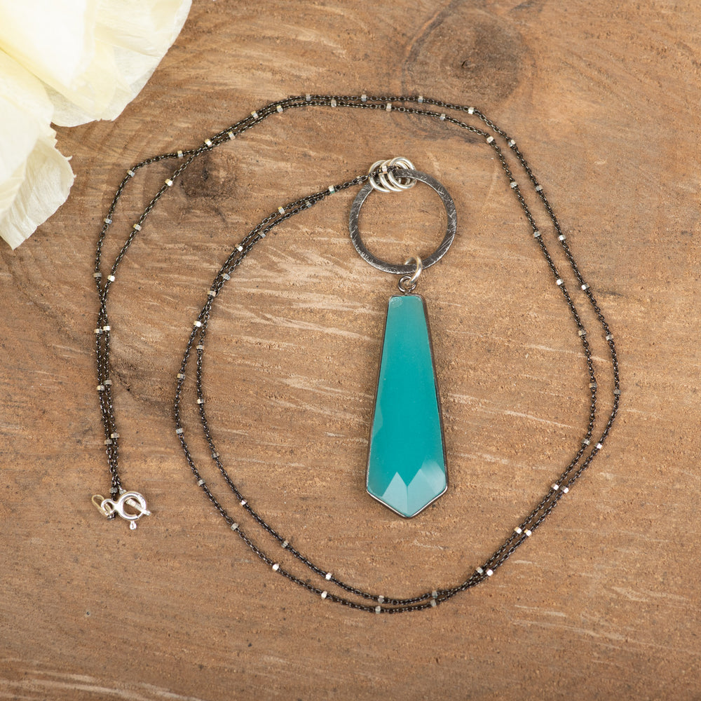 Open Circle With Blue Chalcedony Necklace
