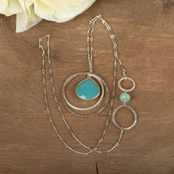 Chalcedony Open Circles Necklace