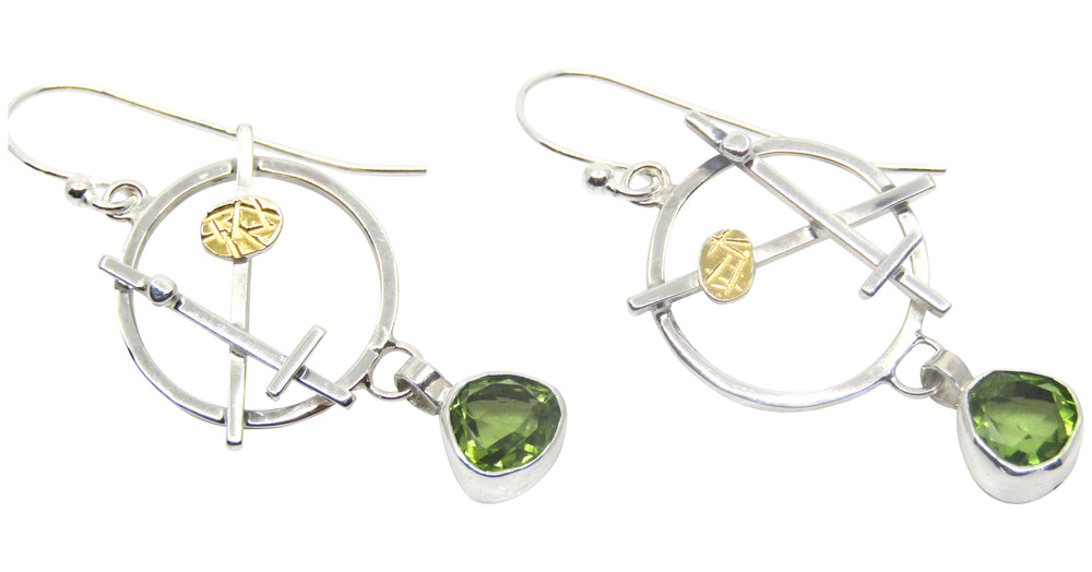 Abstract Circle Earrings With Peridot