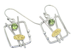 Abstract Square Earrings With Peridot