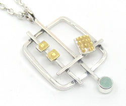 Abstract Square Pendant With Chrysoprase