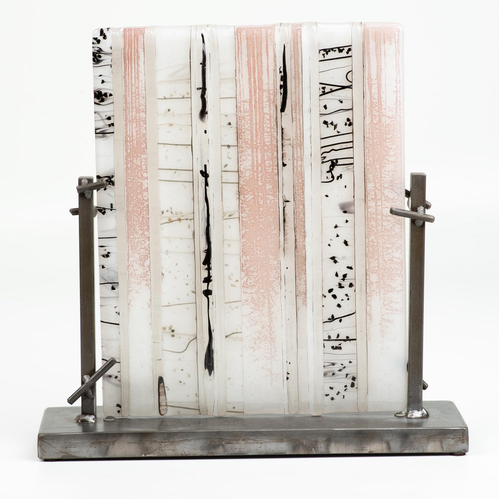 Fused White Textured Birch w/ Metal Base