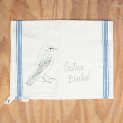 Eastern Bluebird Embroidered Tea Towel