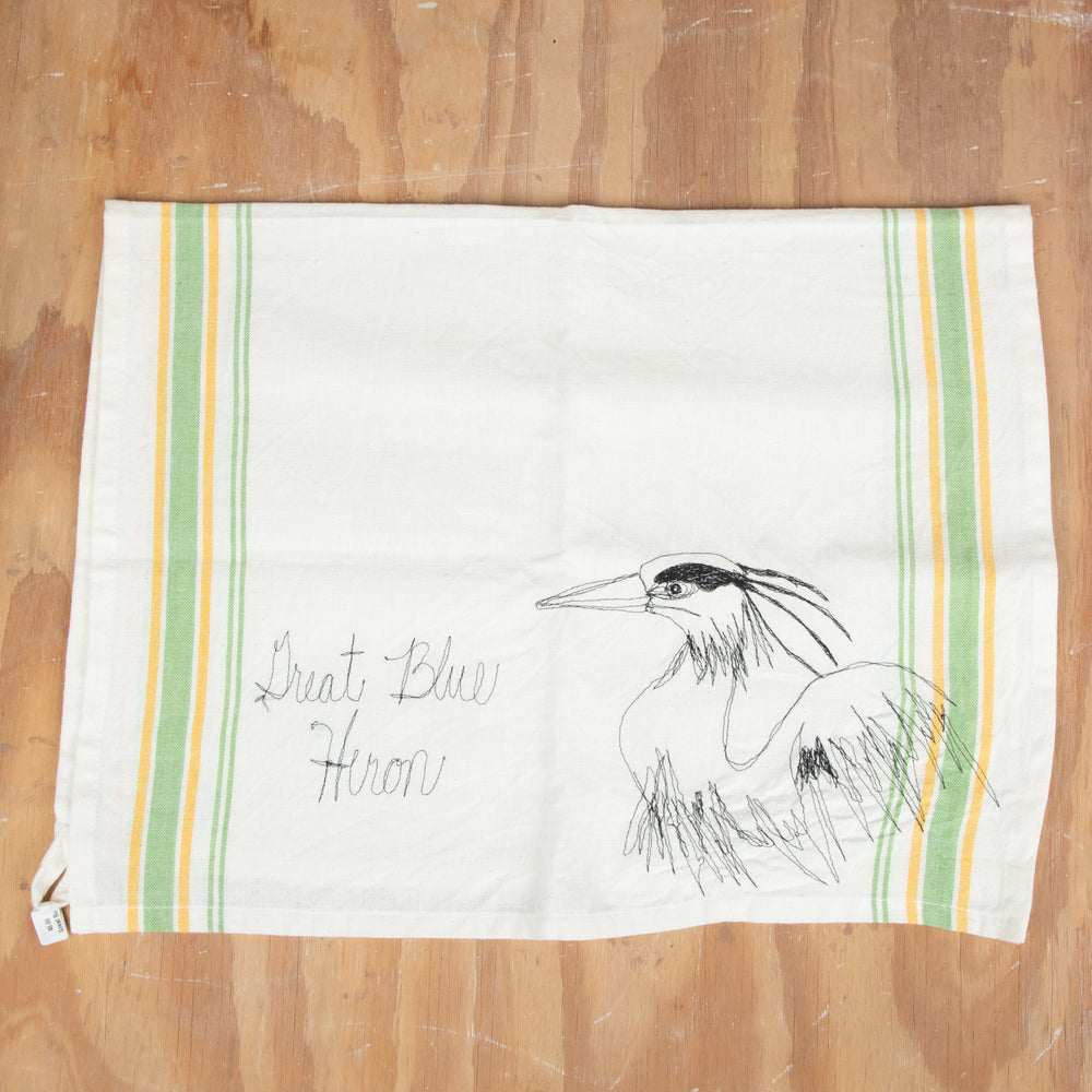Great Blue Heron Embroidered Tea Towel
