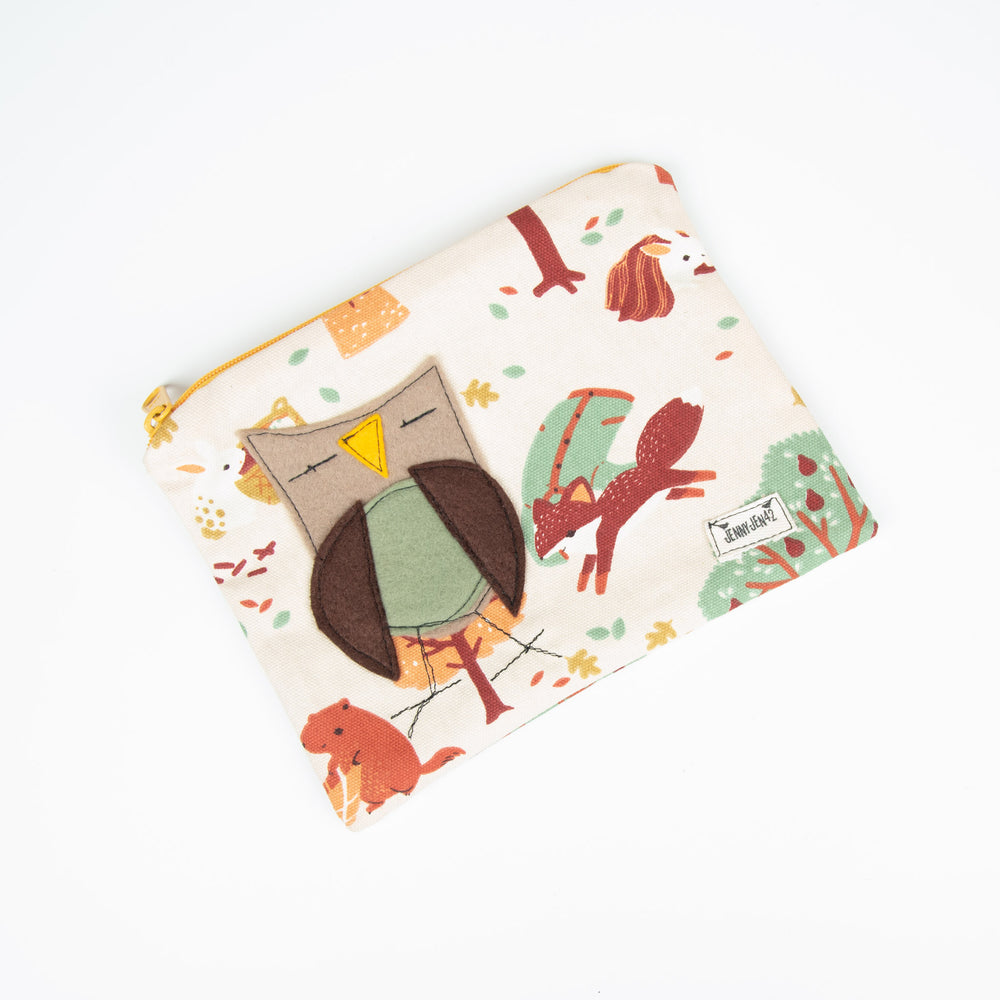 Woodland Owl Canvas Zipper Bag