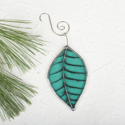 Foiled Teal Leaf Ornament