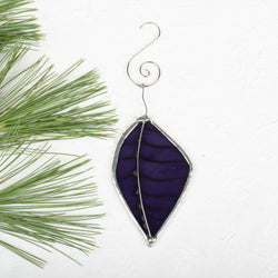 Foiled Purple Leaf Ornament