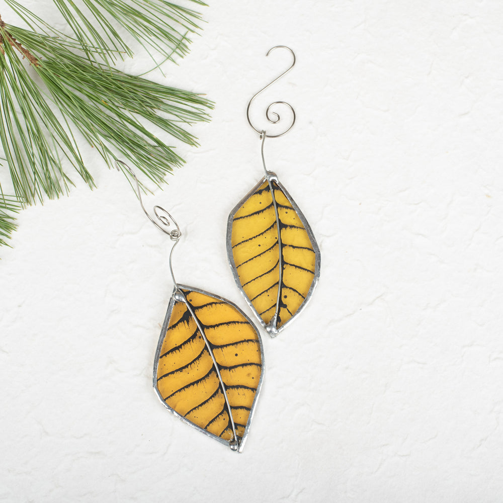 Foiled Amber Leaf Ornament