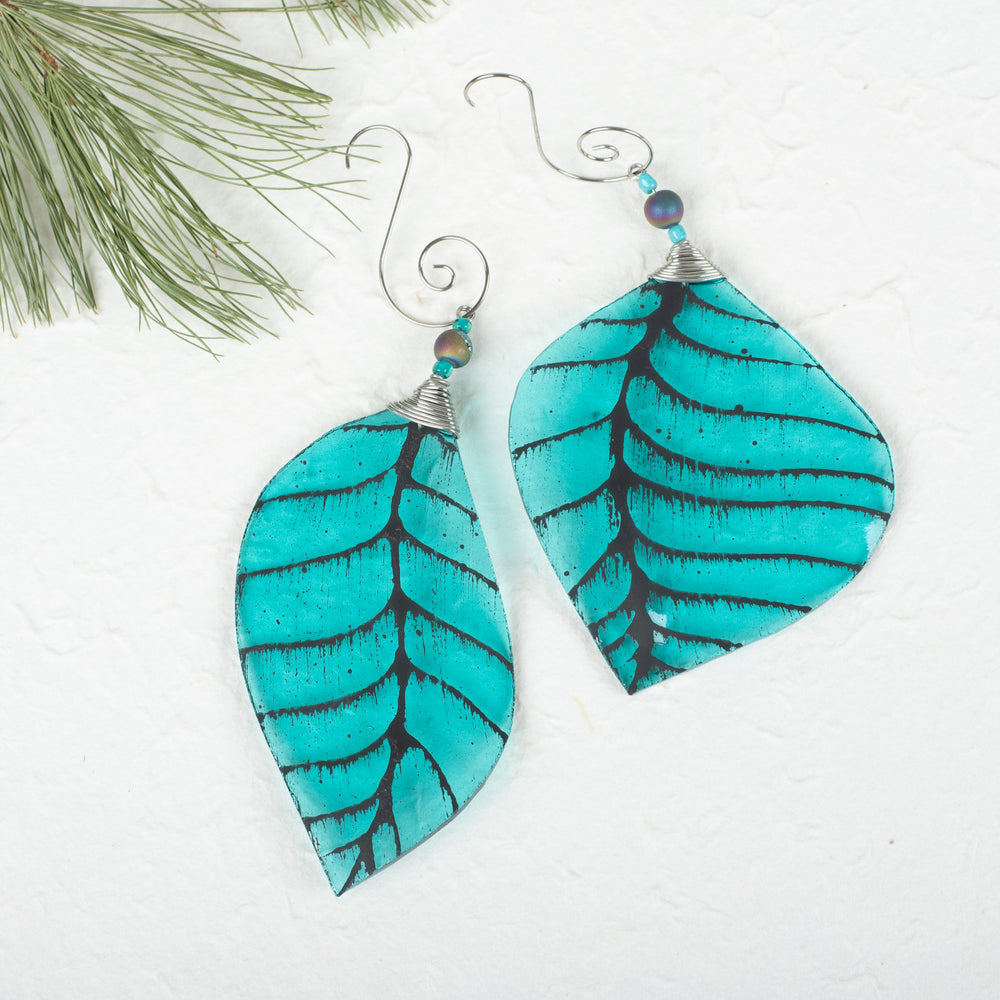Teal Leaf Ornament With Bead Accent