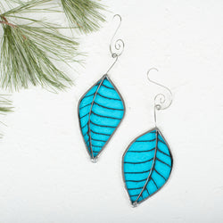 Foiled Light Blue Leaf Ornamnet