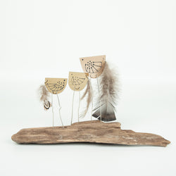 Standing Bird Trio On Driftwood