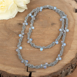 Grey Tube Necklace With Opalescent Beads