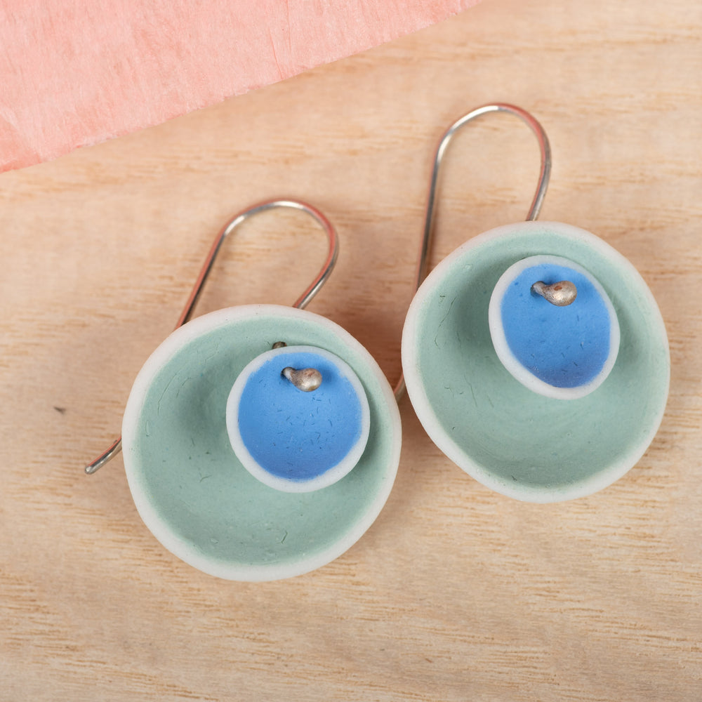 Double Pod Mint & Cobalt Earrings
