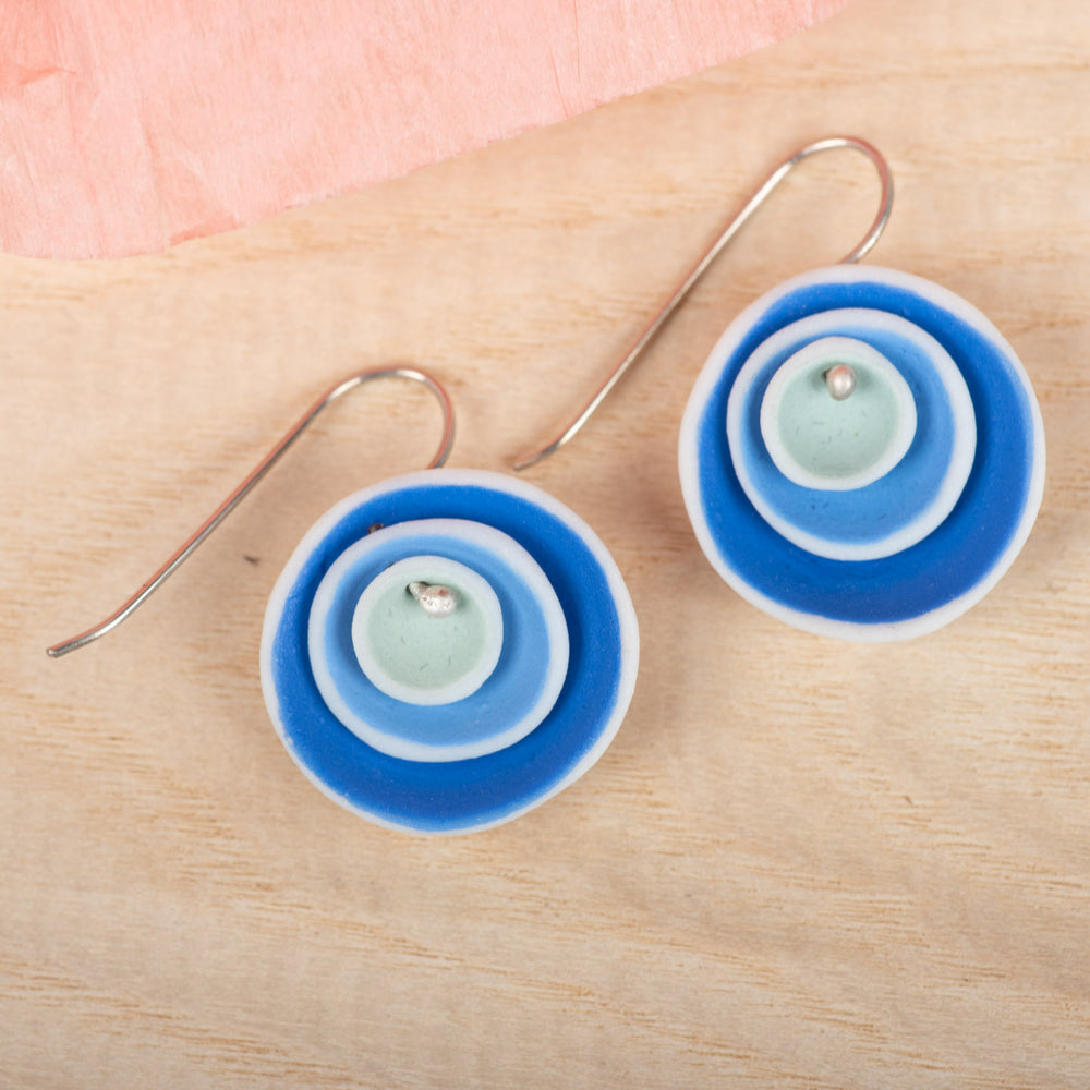 Triple Nest Blue Earrings