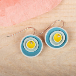 Triple Nest Turquoise & Yellow Earrings