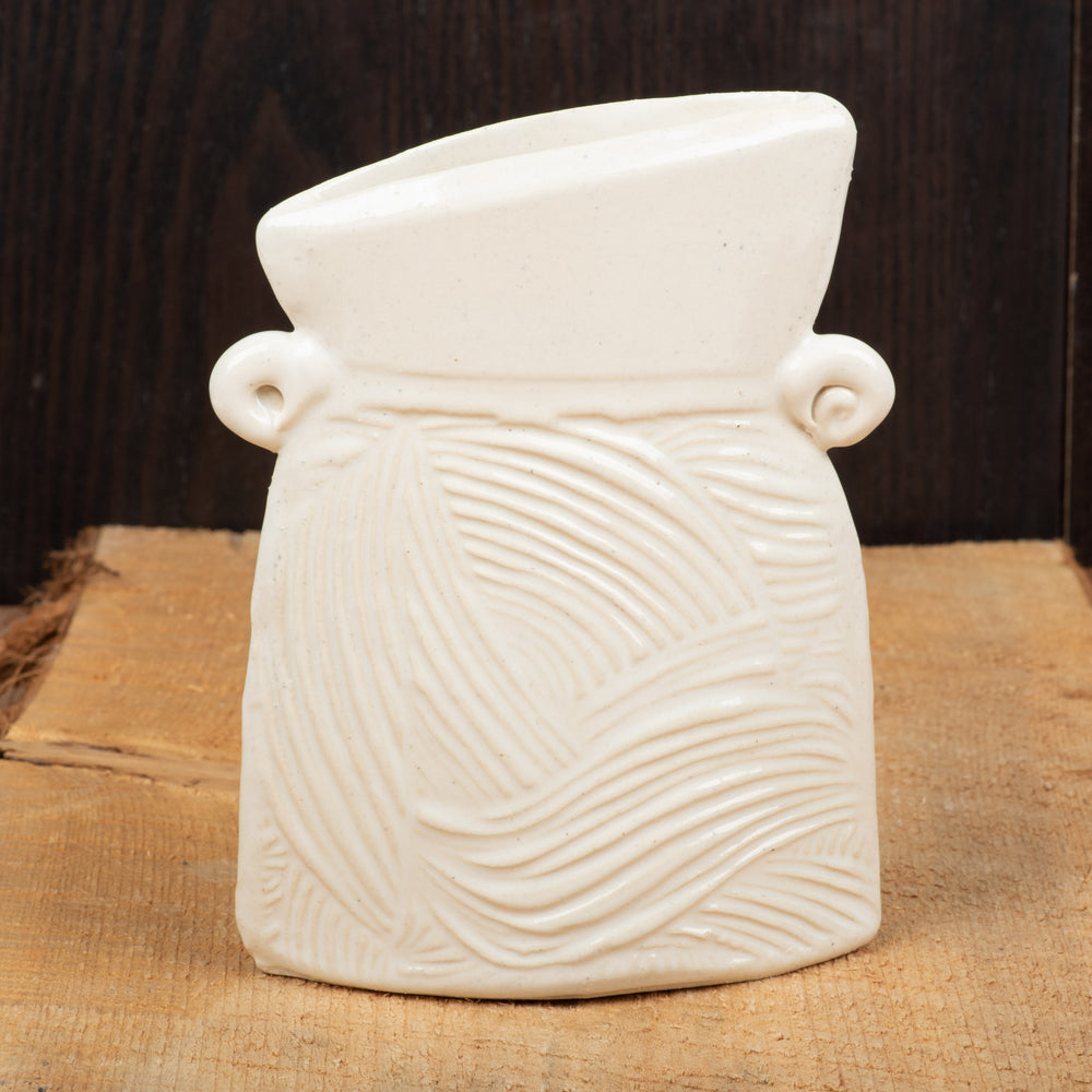 White Waves Small Flat Vase