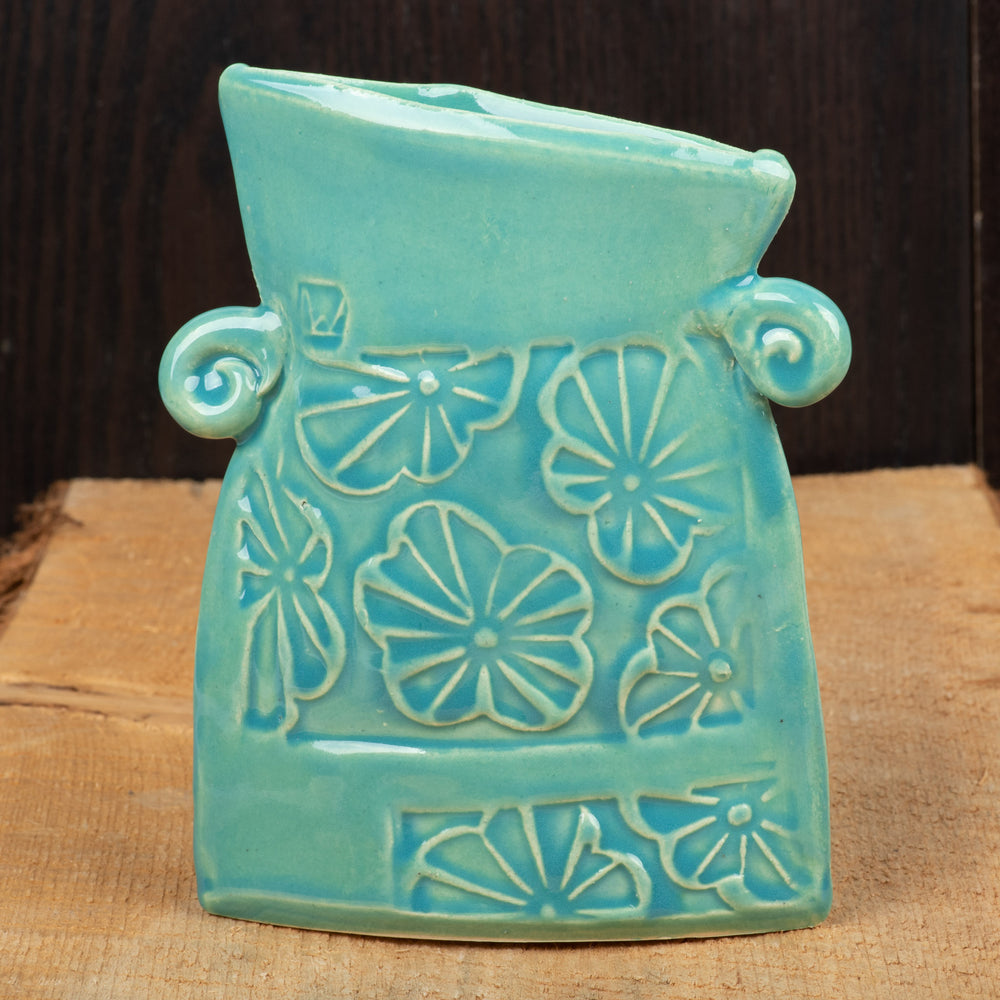 Teal Large Flower Flat Vase