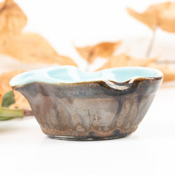 Small Bowl in Gold Crystalline and Celadon Glazes