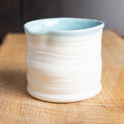 Cup in White and Blue Celadon Glazes