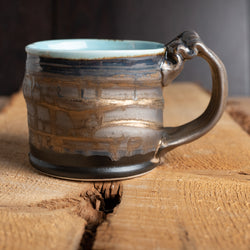 Mug in Gold Crystalline and Celadon Glazes