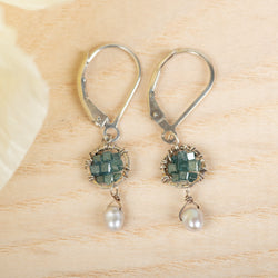 Blue Diamond & Keshi Pear Earrings