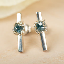 Blue Diamond Sterling Silver Earring