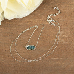 Blue Diamond Sterling Silver Necklace