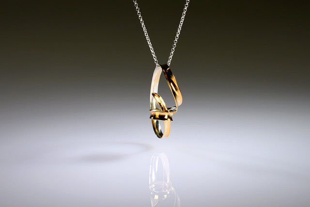 Gold-Plated Ribbon Loop Pendant