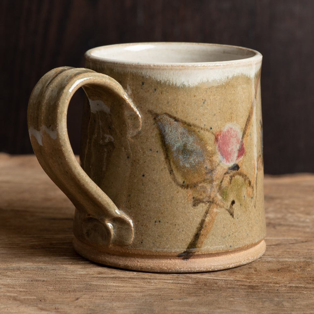 Straight Forest Green Brushwork Mug
