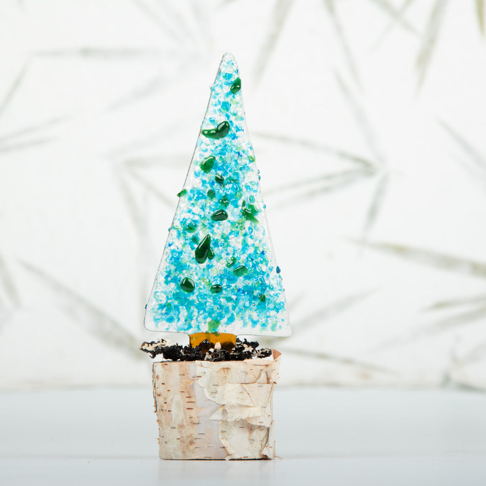 Glass Christmas Trees On Birch