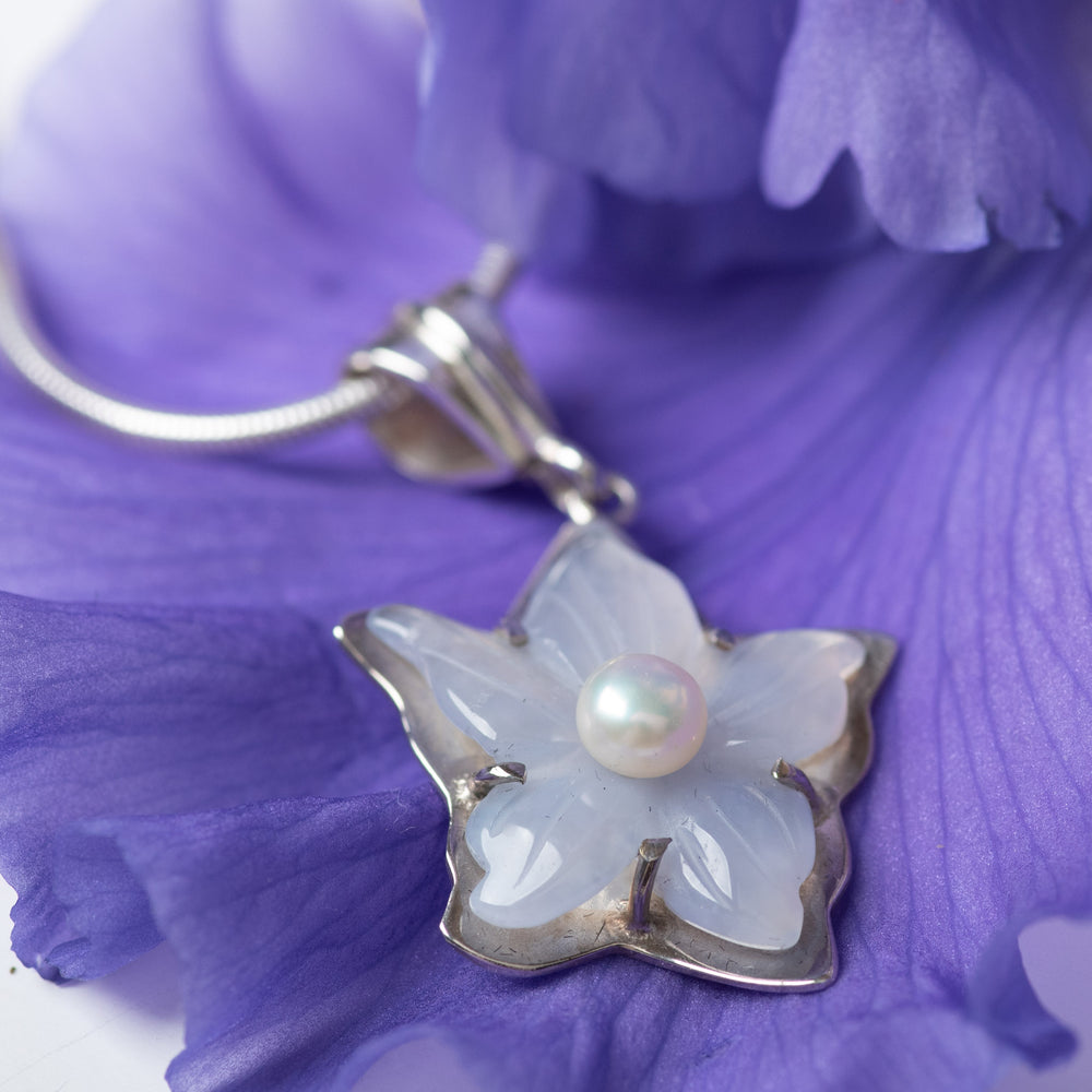Blue Chalcedony Carved Flower Necklace