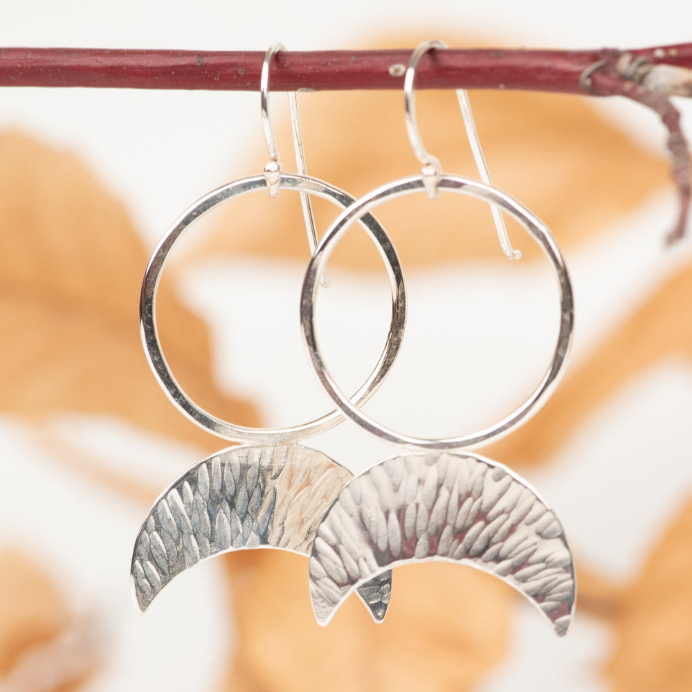 Sterling Silver Inverted Crescent Earrings