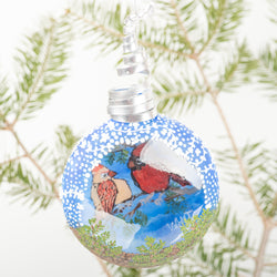 Cardinals in the Evergreens Ornament