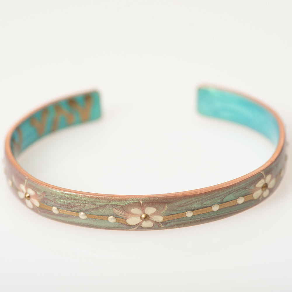 Small Green-Pink Flower Cuff
