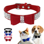 Bling Rhinestone Dog or Cat Collars  Adjustable Leather Bow knot