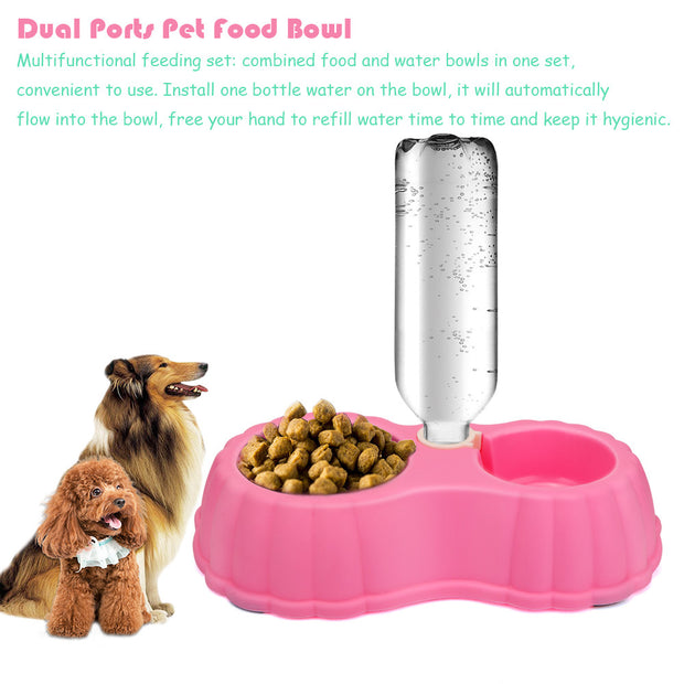 2 Ports Pet Water Food Feeder